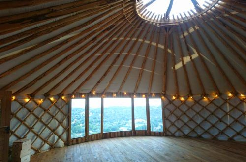 All Good in the wood projects Yurt with dancefloor and panoramic window