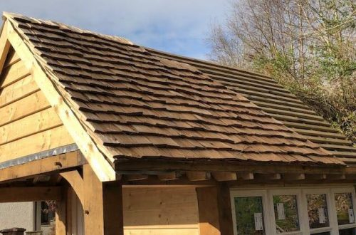 All good in the wood handmade Oak shingles application